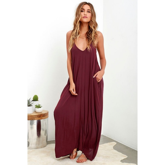a5d7f847e Lulu's Dresses & Skirts - Lulus Yours Tule Wine Red Pocketed Maxi Dress